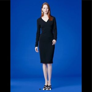 DVF Long-Sleeve V-Neck Tailored Dress